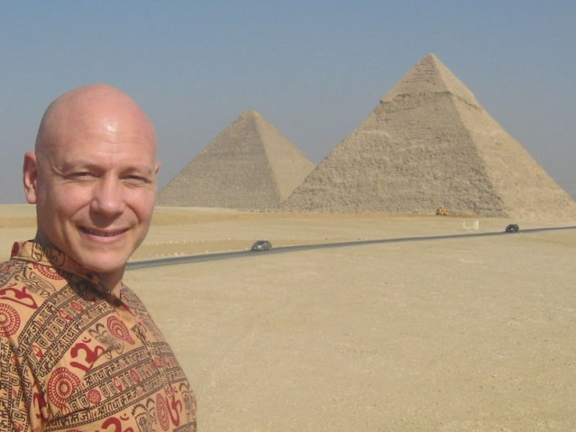 At the pyramids in Giza